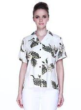 Women Ladies Aloha Shirt Blouse Cruise Luau Hawaiian Party Palm Green Leaf