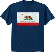 Men's big and tall t-shirt California flag decal tee shirt cali bear design tee