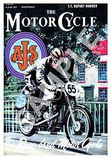 La MOTOCICLETTA: VINTAGE motorcylce RIVISTA COPERTINA POSTER RIPRODUZIONE.