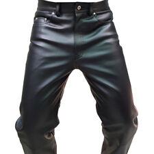 VRAI NOIR cuir vachette lisse & SEXY 501 STYLE JEANS PANTALON MOTARDS (501-blk