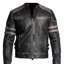 uomo biker vintage MOTORINO sdrucito Nero retrò Giacca di pelle