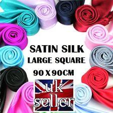 Satin Solid Silk Scarf Hijab Plain Shiny Soft Large Square Head Neck Wrap 90x90