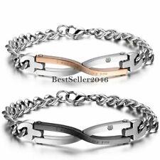 Bracelet Manchette Bangle Poignet Infini Amour Couple Bijoux Acier Inox Cadeau