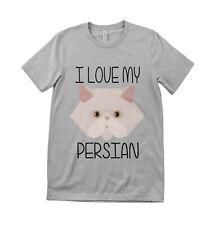 I Love My Persian Unisex & Kids Cat  Lover T shirt  All Sizes Grey & White