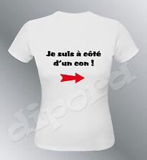 Tee shirt personnalise a côte d'un con S M L XL humour femme