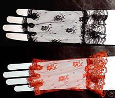 Fingerless Short Lace Wrist Ruffle Gloves Civil War+80s Finger Less White Black