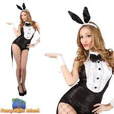 Black Playboy Bunny Tuxedo Sexy Valentine Waitress Womens Fancy Dress Costume