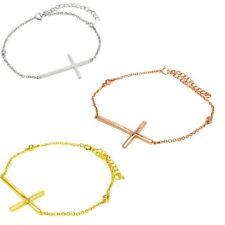 Sterling Silver Sideways Cross Charm Bracelet w/ Bezel Set CZ Stones