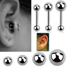1-4PC Steel Barbell 16G 6-8mm Helix Cartilage Ear Piercing Silver 2 Size Balls