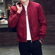 Men's Fall Baseball Jacket Stand Collar Slim Fit Coat Bomber Jacket Outwear Size