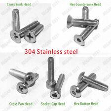 4#-40 Socket Cap Head Button Flat head Pan Head Head Screws Bolts 304SS-A2