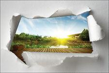 Adhesivo Trampantojo l'ojo papel desgarrado decoración Pontón acostado del sol