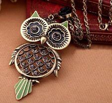 Halskette Eule Blumen Strass Augen Rose Eulenkette grün Uhu Kauz lange Kette NEU