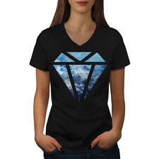 Diamante Patrón Hermoso Mujeres Escote en V Camiseta Nuevo   wellcoda