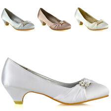 Womens Bridal Shoes Low Heel Satin Ladies Slip On Diamante Bridesmaid Pumps