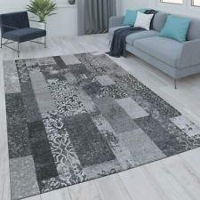 Patchwork Rug Grey Geometric Pattern Carpet Small Large Modern Bedroom Floor Mat
