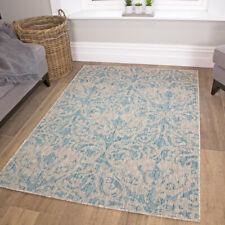 Moroccan Turquoise Blue Aqua Distressed Rugs Damask Flatweave Indoor Outdoor Rug