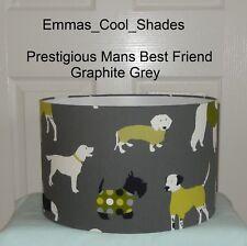 Handmade Lampshade Prestigious Mans Best Friend Fabric Grey Cinnamon Jewell Dogs