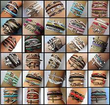 USA SELLER!! Leather Charm Bracelet 30 Styles Infinity Anchor Love Cross