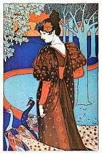 Vintage POSTER.Art Nouveau.Peacocks.good Room Decor.Home office design.923