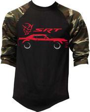 Men's Dodge Challenger Demon SRT Camo Baseball Raglan T Shirt Muscle Car Hellcat
