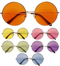 70 S Lente Rotondo Occhiali più grande lente 6 cm Hippie Ozzy Discoteca Costume Retrò