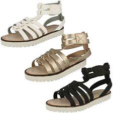 Girls H0131 Black & White gladiator sandals  by SPOT ON Retail Price £15.00