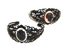 BLACK METAL ANATOMY CUFF painted filigree bracelet bangle Heart Skull gothic 6H