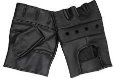 Lederhandschuhe ohne Fingerlos Fingerlinge Fahrradhandschuhe Schwarz S-XXL