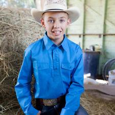 New Kids Cotton Half Placket Work Shirt - 8052-H-Cobalt Boys ShirtBrigalow