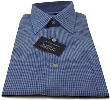 John Ashford Men's Dress Shirts Comfort Cotton Blend Blue Micro Check
