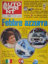 Autosprint 5 1980 GP Brasile:1° Arnoux, 2° De Angelis.Schede tecniche auto sc.5