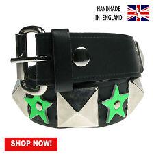 38mm gran pirámide y Estrella del auténtico cuero hecho a mano en Reino Unido Press Stud Belt