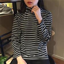 Harajuku Women Long Sleeve Turtleneck Striped Tops Blouse T-shirt Shirt N7