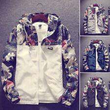 New Men's Casual Camo Thin Hooded Jacket Wind Breaker Sport Loose Coat Tops