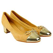 Mujer Zapatos De Tacón Bajo Bloque Medio Detalle De Moño Damas Tribunal Zapatos Smart Comfort Tamaño