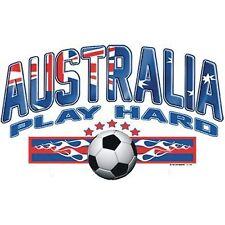 New AUSTRALIA PLAY HARD SOCCER BALL T-Shirts Small to 5XL BLACK or WHITE