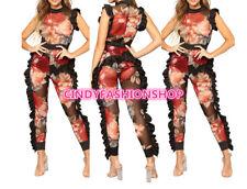 New Women Floral Print Sheer Mesh Ruffle Sexy Night Club Bandage Jumpsuit #J1