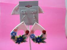 White Flower Dangle Earrings