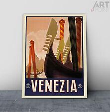 Vintage Art Deco Venice Italy Travel Poster Framed Canvas or Unframed Art Print