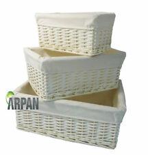 Cesta de almacenamiento de mimbre blanco Arpan con Paño Grande Pack 2