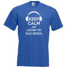 Restez calme et d'écouter Old Skool années 80 90 musique disco dj Drôle Hommes Femmes T-Shirt