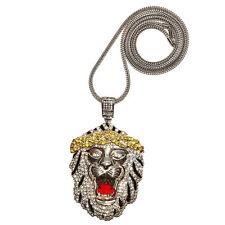 "& 36"" Chain Necklace Hip Hop Cz Bling Big Sean Iced Out Lion Head Pendant w/ 30"""