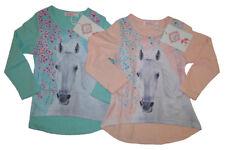 Mädchen Langarmshirt Pferde Kinder langarm Shirt Pferd Blumen Kind Kleinkind Neu