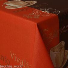 Acrylique coated table tissu café orange brown gold tasses expresso lavables housse