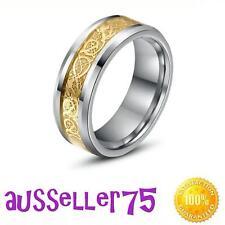 8mm stainless steel celtic dragon mens ring band gold black aust stock wedding