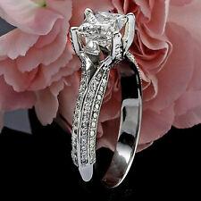 2.88 CT PRINCESS CUT DIAMOND HALO ENGAGEMENT RING 14K WHITE GOLD ENHANCED