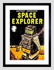 Pubblicità giocattolo a batteria SPACE EXPLORER ROBOT Framed Art Print b12x10071
