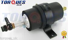 Walbro GSL392 255 LPH Fuel Pump + Billet Cradle + Barbed Adapters In Black