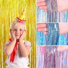 Metallic Foil Fringe Curtain Birthday Party Decor Tinsel Home Supply Kid Wedding
